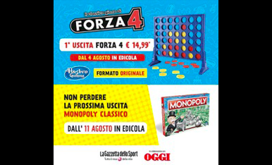 Gioco in scatola Hasbro Gaming FORZA 4 formato originale La Gazzetta dello Sport